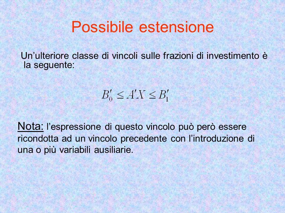 Possibile estensione Unulteriore classe di vincoli sulle frazioni di investimento è la seguente: Nota: lespressione di questo vincolo può però essere ricondotta ad un vincolo precedente con lintroduzione di una o più variabili ausiliarie.