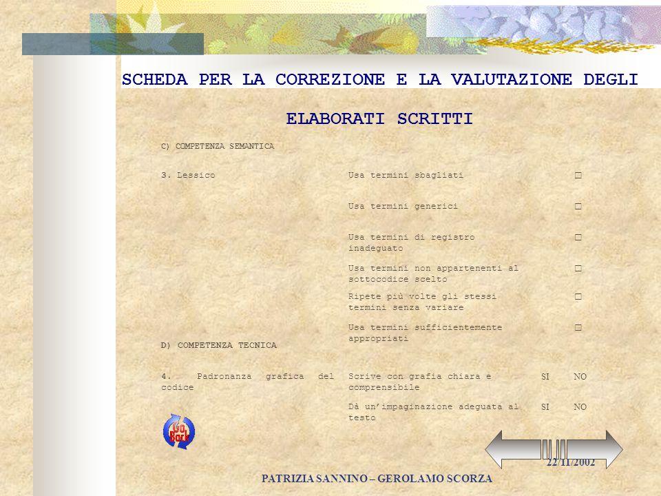 PATRIZIA SANNINO – GEROLAMO SCORZA 22/11/2002 SCHEDA PER LA CORREZIONE E LA VALUTAZIONE DEGLI ELABORATI SCRITTI A) COMPETENZA IDEATIVA E TESTUALE 2 Ri