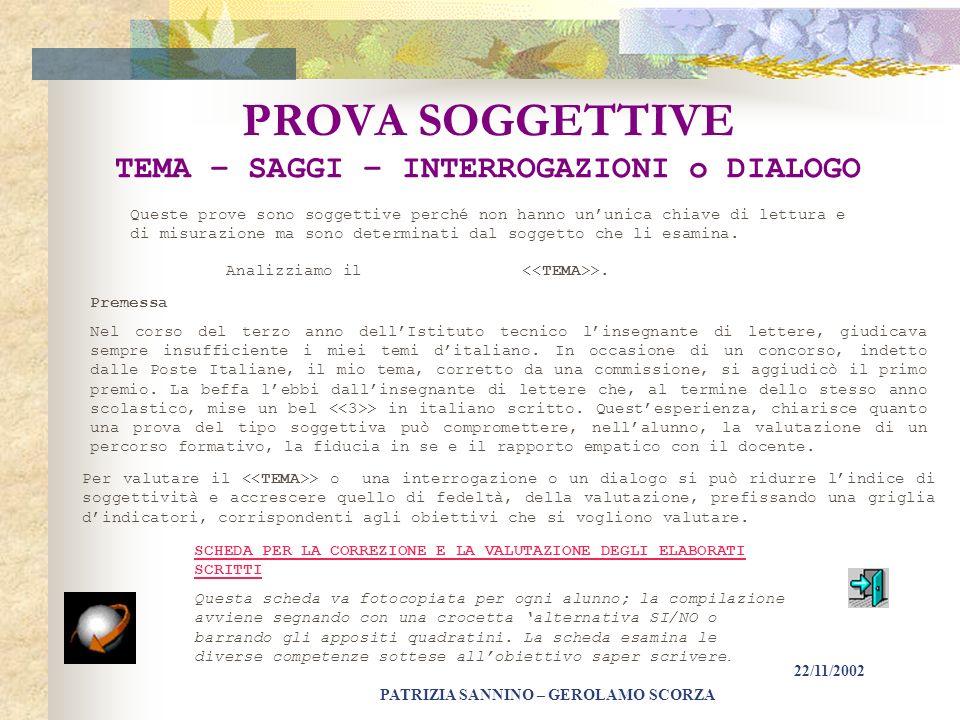 PATRIZIA SANNINO – GEROLAMO SCORZA 22/11/2002 REQUISITI DELLE PROVE 2 Per rispondere ai requisiti di validità e attendibilità ogni prova deve: Rispond