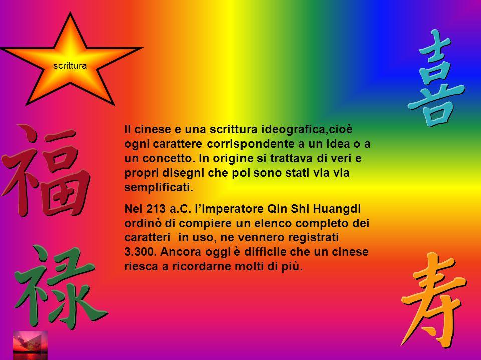 scrittura Il cinese e una scrittura ideografica,cioè ogni carattere corrispondente a un idea o a un concetto.