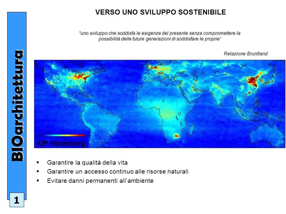 Costruire con criteri di sostenibilità ambientale significa: Avere rispetto per il luogo e per gli abitanti Diminuire le emissioni inquinanti aria, acqua e suolo Risparmiare energia e utilizzare risorse rinnovabili Ridurre la quantità delle risorse utilizzate Diminuire la produzione dei rifiuti Avere più comfort ( visivo, sonoro, termico..) e ambienti più sani Utilizzare materiali non nocivi allambiente e alluomo Essere competitivo in termini di costi (prospettiva a lungo termine) BIOarchitettura 2