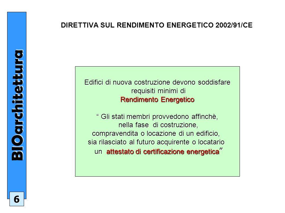 DIRETTIVA SUL RENDIMENTO ENERGETICO 2002/91/CE Edifici di nuova costruzione devono soddisfare requisiti minimi di requisiti minimi di Rendimento Energetico Gli stati membri provvedono affinchè, Gli stati membri provvedono affinchè, nella fase di costruzione, nella fase di costruzione, compravendita o locazione di un edificio, sia rilasciato al futuro acquirente o locatario un attestato di certificazione energetica un attestato di certificazione energetica BIOarchitettura 6