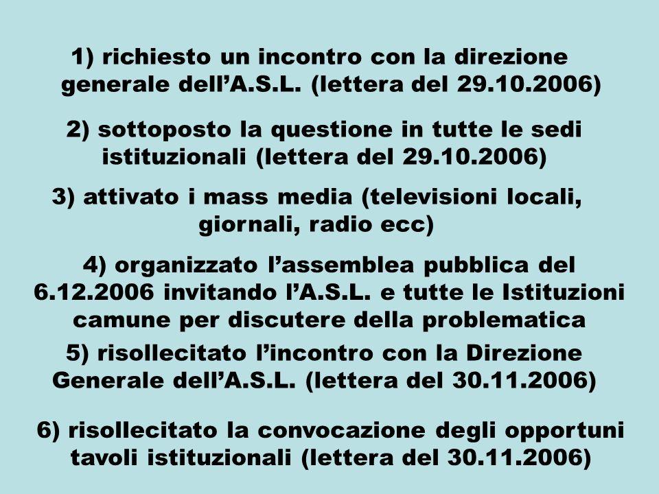 1) richiesto un incontro con la direzione generale dellA.S.L. (lettera del 29.10.2006) 2) sottoposto la questione in tutte le sedi istituzionali (lett
