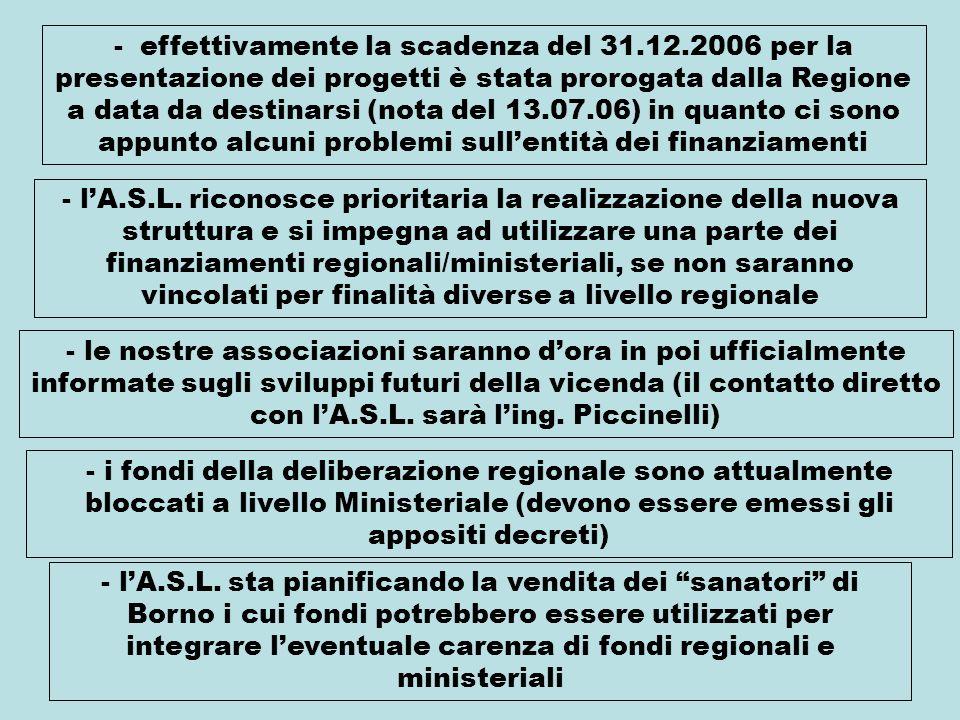 - effettivamente la scadenza del 31.12.2006 per la presentazione dei progetti è stata prorogata dalla Regione a data da destinarsi (nota del 13.07.06) in quanto ci sono appunto alcuni problemi sullentità dei finanziamenti - lA.S.L.