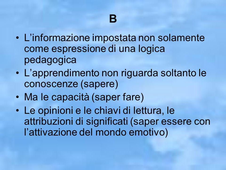 B Linformazione impostata non solamente come espressione di una logica pedagogica Lapprendimento non riguarda soltanto le conoscenze (sapere) Ma le capacità (saper fare) Le opinioni e le chiavi di lettura, le attribuzioni di significati (saper essere con lattivazione del mondo emotivo)