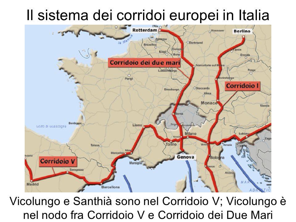 Il sistema dei corridoi europei in Italia Vicolungo e Santhià sono nel Corridoio V; Vicolungo è nel nodo fra Corridoio V e Corridoio dei Due Mari