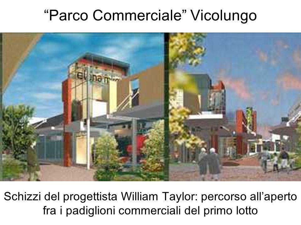Parco Commerciale Vicolungo Schizzi del progettista William Taylor: percorso allaperto fra i padiglioni commerciali del primo lotto