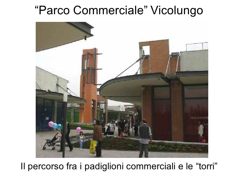 Parco Commerciale Vicolungo Il percorso fra i padiglioni commerciali e le torri