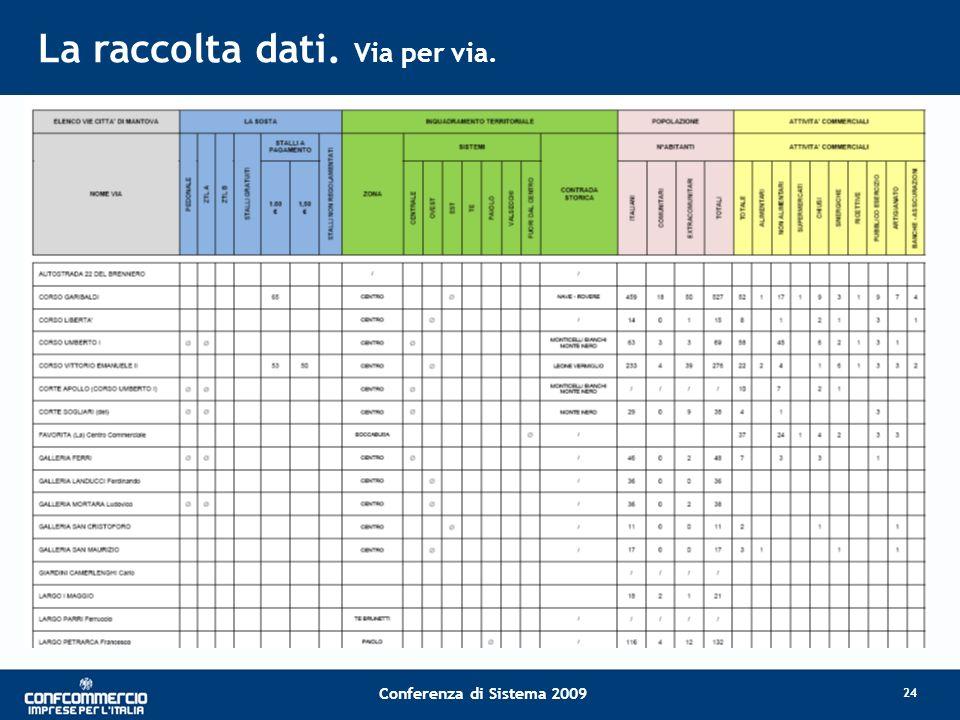 Conferenza di Sistema 2009 La raccolta dati. Via per via. 24