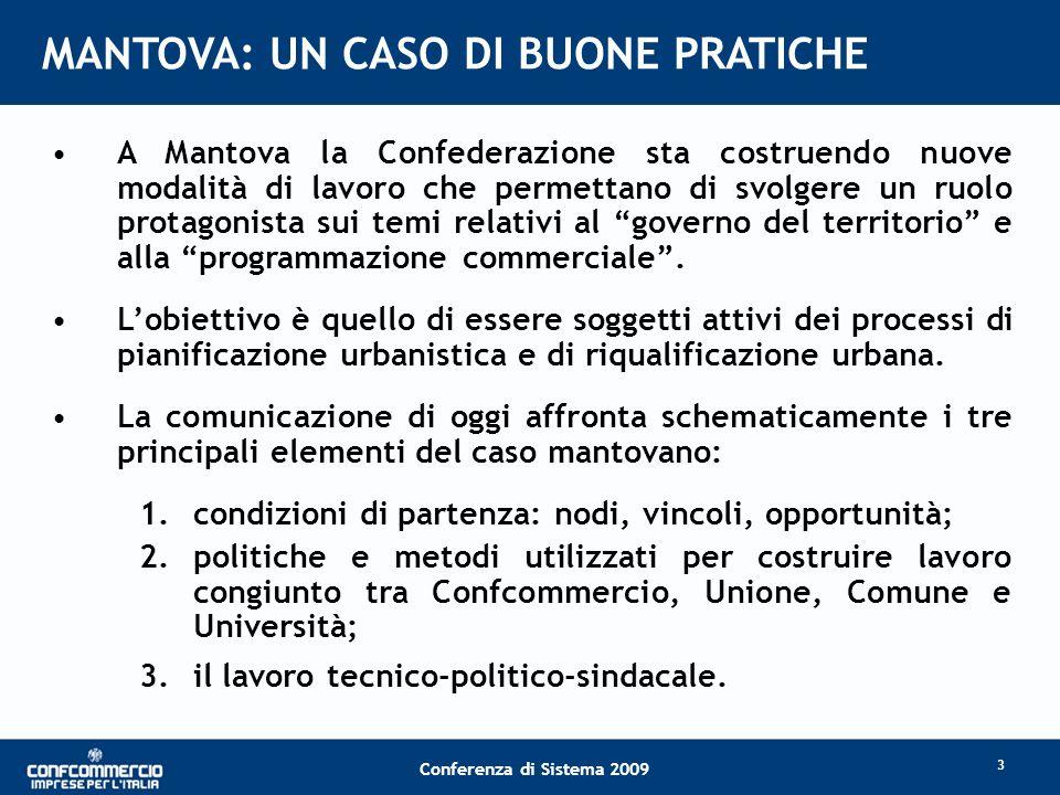 Conferenza di Sistema 2009 MANTOVA: UN CASO DI BUONE PRATICHE A Mantova la Confederazione sta costruendo nuove modalità di lavoro che permettano di svolgere un ruolo protagonista sui temi relativi al governo del territorio e alla programmazione commerciale.