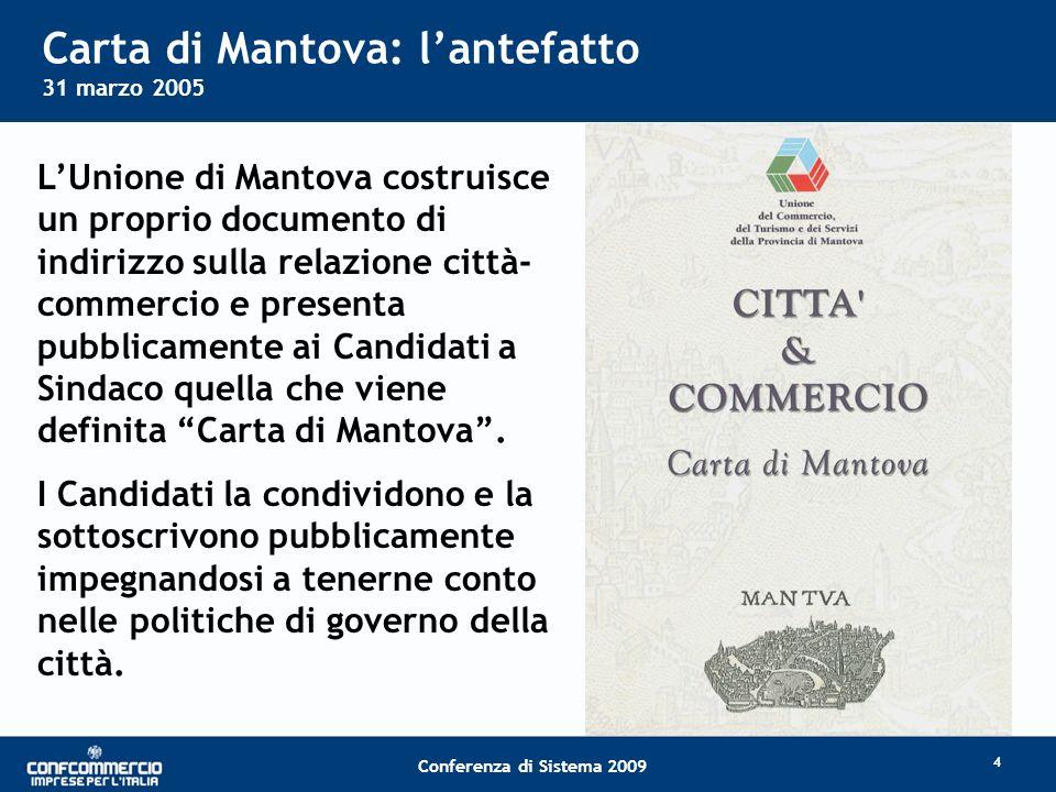 Titolo slide Conferenza di Sistema 2009 Carta di Mantova: lantefatto 31 marzo 2005 LUnione di Mantova costruisce un proprio documento di indirizzo sulla relazione città- commercio e presenta pubblicamente ai Candidati a Sindaco quella che viene definita Carta di Mantova.