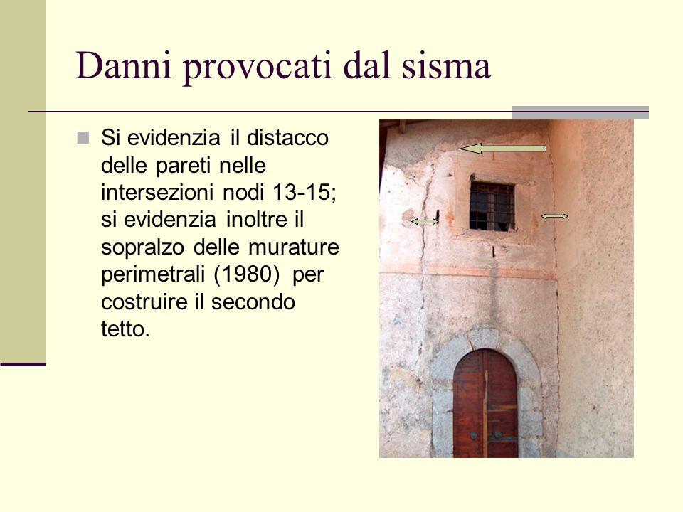 Danni provocati dal sisma Si evidenzia il distacco delle pareti nelle intersezioni nodi 13-15; si evidenzia inoltre il sopralzo delle murature perimet