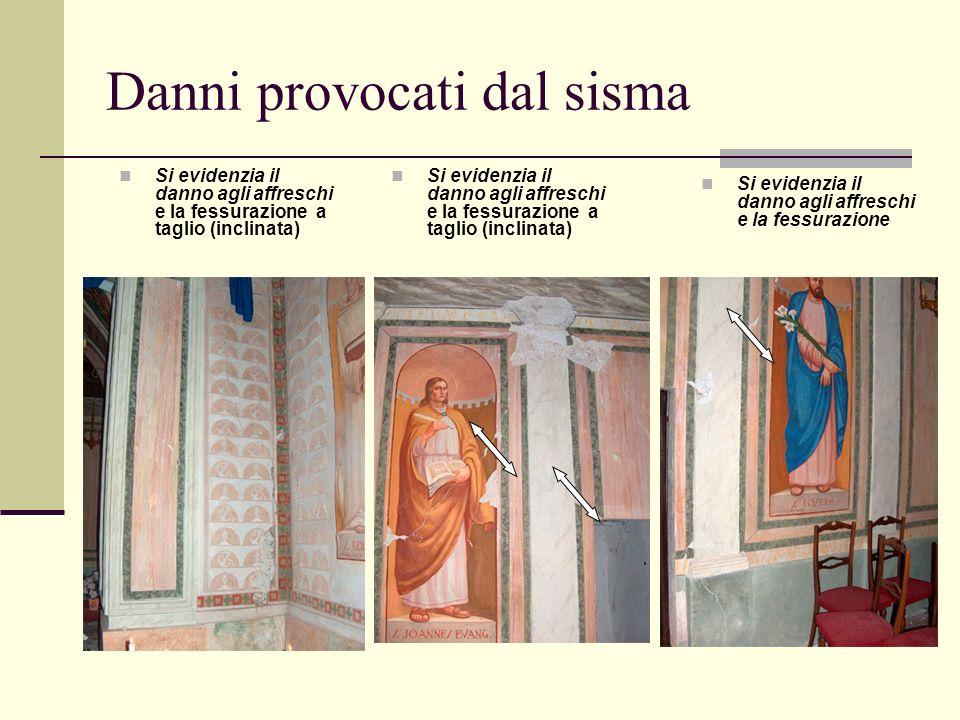 Danni provocati dal sisma Si evidenzia il danno agli affreschi e la fessurazione a taglio (inclinata) Si evidenzia il danno agli affreschi e la fessur