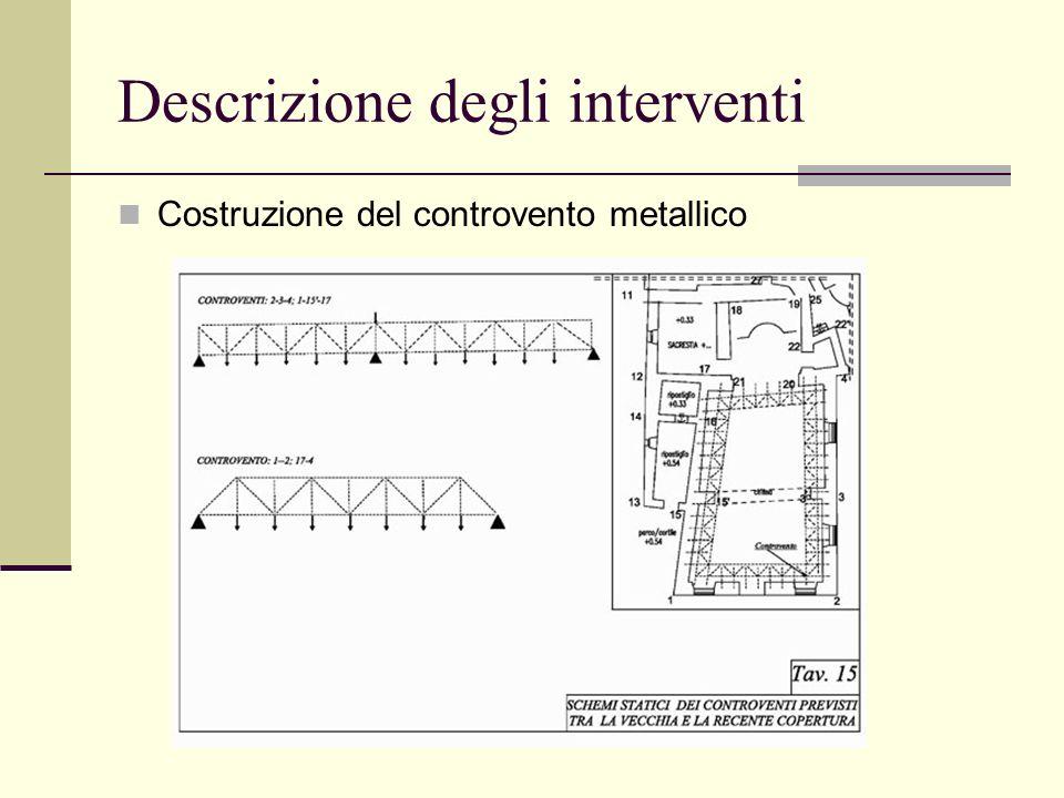 Descrizione degli interventi Costruzione del controvento metallico