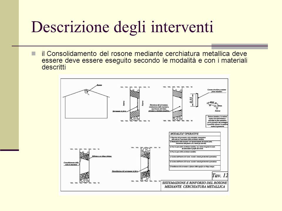 Descrizione degli interventi il Consolidamento del rosone mediante cerchiatura metallica deve essere deve essere eseguito secondo le modalità e con i