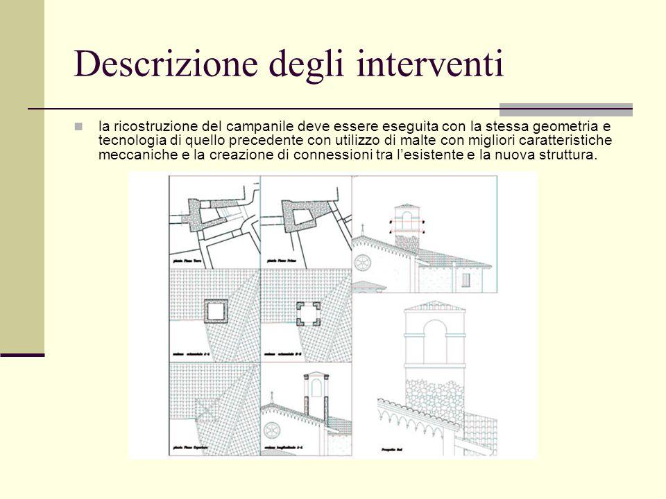 Descrizione degli interventi la ricostruzione del campanile deve essere eseguita con la stessa geometria e tecnologia di quello precedente con utilizz