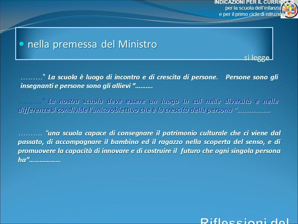 nella premessa del Ministro nella premessa del Ministro si legge La scuola è luogo di incontro e di crescita di persone.