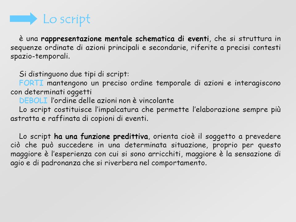Lo script è una rappresentazione mentale schematica di eventi, che si struttura in sequenze ordinate di azioni principali e secondarie, riferite a pre