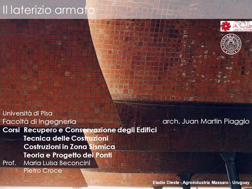 Il laterizio armato Eladio Dieste - Agroindustria Massaro - Uruguay arch. Juan Martin Piaggio Università di Pisa Facoltà di Ingegneria CorsiRecupero e