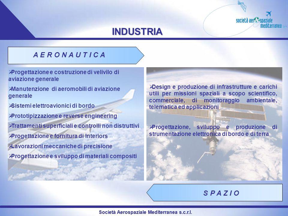 INDUSTRIA A E R O N A U T I C A S P A Z I O Progettazione e costruzione di velivilo di aviazione generale Manutenzione di aeromobili di aviazione gene