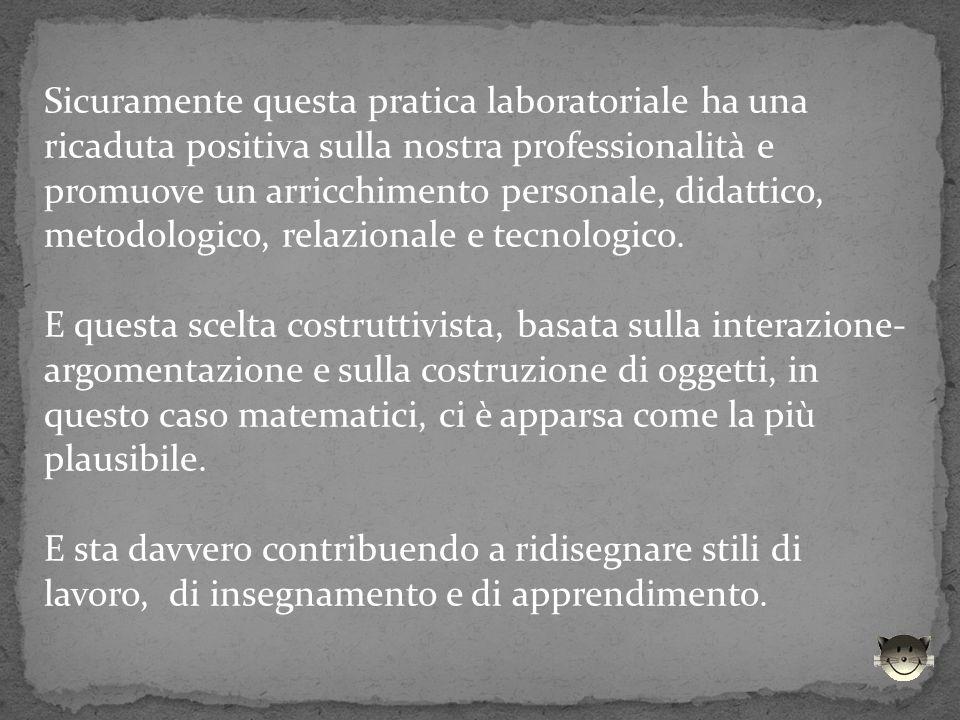 Sicuramente questa pratica laboratoriale ha una ricaduta positiva sulla nostra professionalità e promuove un arricchimento personale, didattico, metodologico, relazionale e tecnologico.