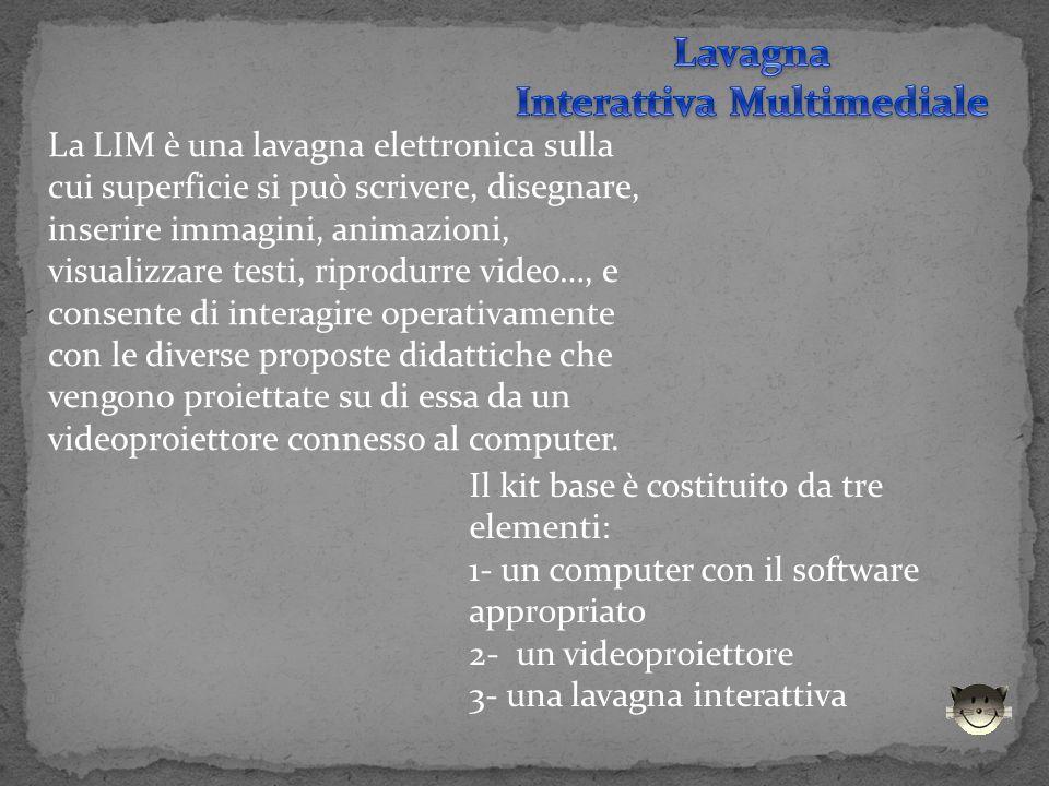 La LIM è una lavagna elettronica sulla cui superficie si può scrivere, disegnare, inserire immagini, animazioni, visualizzare testi, riprodurre video…
