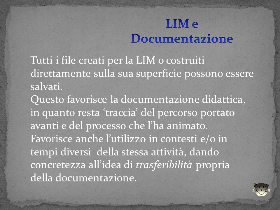Tutti i file creati per la LIM o costruiti direttamente sulla sua superficie possono essere salvati. Questo favorisce la documentazione didattica, in