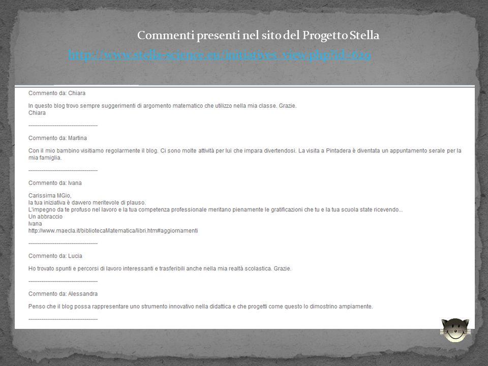 Commenti presenti nel sito del Progetto Stella http://www.stella-science.eu/initiatives_view.php id=629