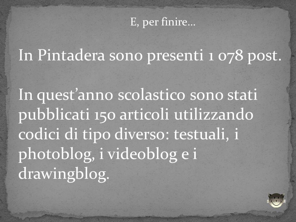 E, per finire… In Pintadera sono presenti 1 078 post. In questanno scolastico sono stati pubblicati 150 articoli utilizzando codici di tipo diverso: t
