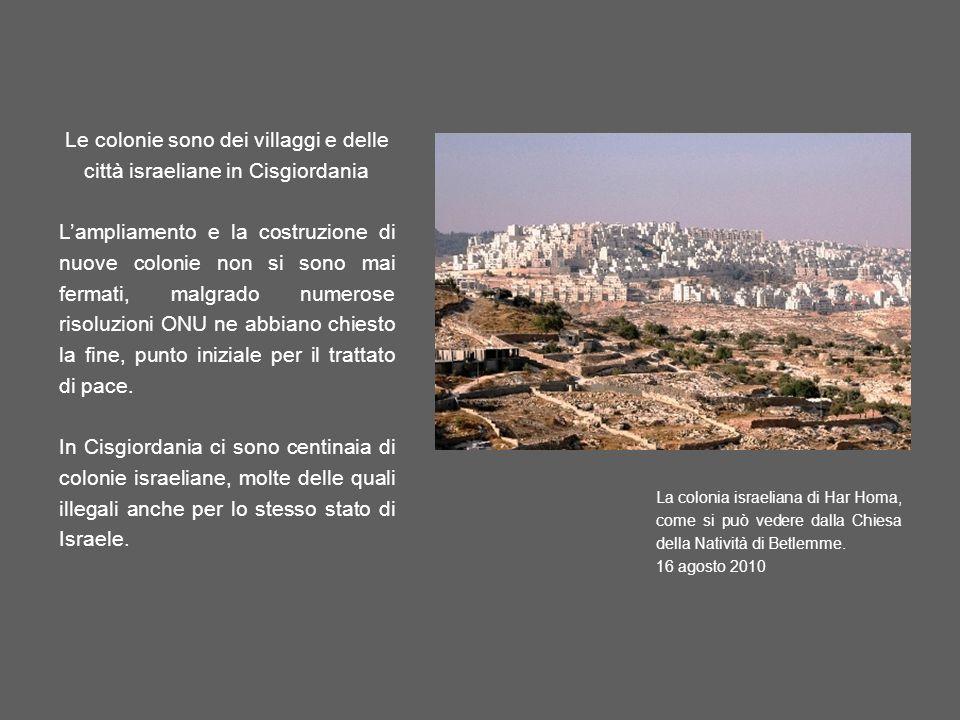 Le colonie sono dei villaggi e delle città israeliane in Cisgiordania Lampliamento e la costruzione di nuove colonie non si sono mai fermati, malgrado numerose risoluzioni ONU ne abbiano chiesto la fine, punto iniziale per il trattato di pace.