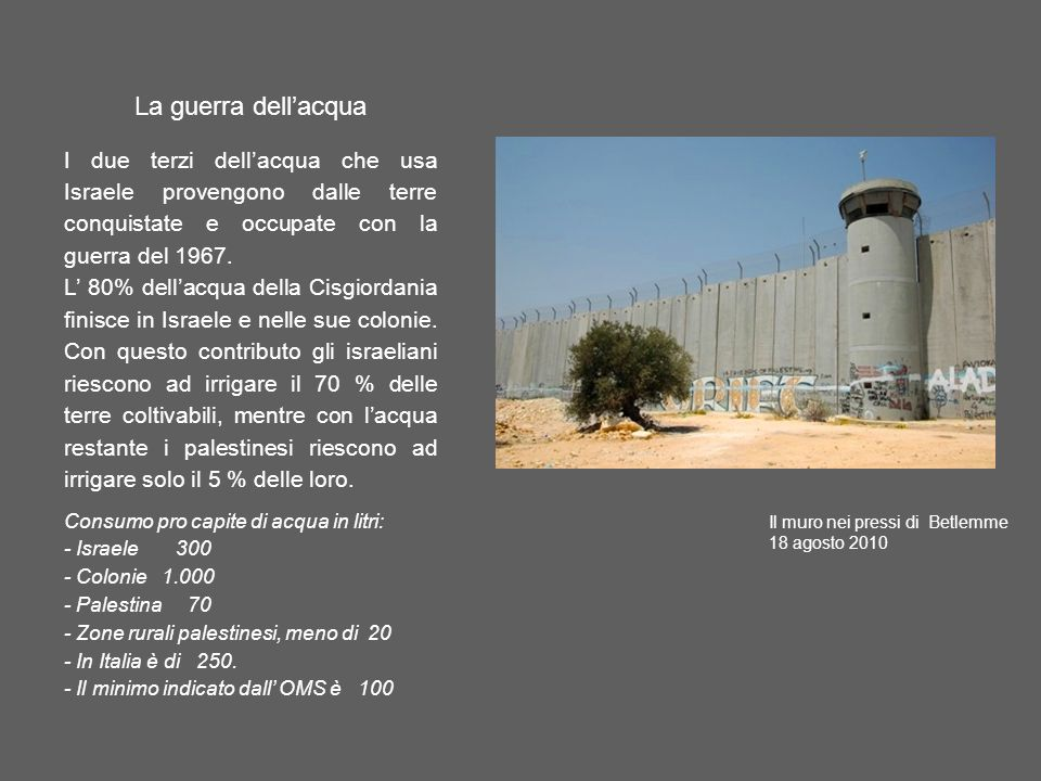 La guerra dellacqua I due terzi dellacqua che usa Israele provengono dalle terre conquistate e occupate con la guerra del 1967. L 80% dellacqua della