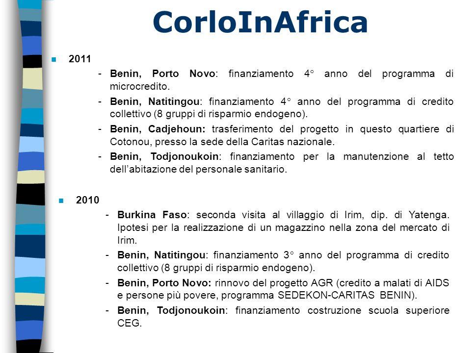 CorloInAfrica n 2011 -Benin, Porto Novo: finanziamento 4° anno del programma di microcredito. -Benin, Natitingou: finanziamento 4° anno del programma