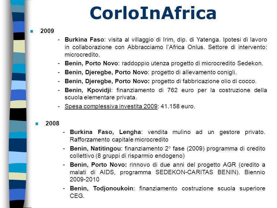 CorloInAfrica n 2007 -Benin Porto-Novo: finanziamento dei progetti di microcredito, programma Sedekon (malati AIDS) -Burkina Faso: estensione microcredito (totale di 30 progetti annui) -Benin, Natitingou: finanziamento programma di micro-imprese con capitale a riscatto (risparmio endogeno) -Benin, Todjonoukoin: finanziamento costruzione scuola superiore CEG n 2006 -Inizio collaborazione con CARITAS BENIN (programma SEDEKON, AIDS) -Fase di studio dei primi progetti a Porto Novo (Benin) -Visita alla Caritas diocesana di Natitingou (Benin) -Benin, Todjonoukoin: finanziamento costruzione scuola superiore CEG n 2005 -Benin: installazione frigorifero solare -Benin: organizzazione personale sanitario e comitato di gestione -Burkina Faso: 2° gruppo di microcredito (10 progetti)