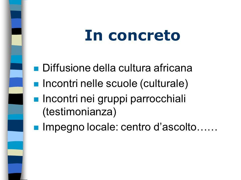 n Diffusione della cultura africana n Incontri nelle scuole (culturale) n Incontri nei gruppi parrocchiali (testimonianza) n Impegno locale: centro dascolto…… In concreto