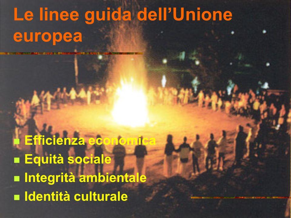 Le linee guida dellUnione europea Efficienza economica Equità sociale Integrità ambientale Identità culturale