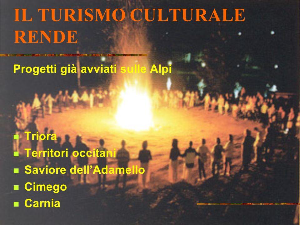 IL TURISMO CULTURALE RENDE Progetti già avviati sulle Alpi Triora Territori occitani Saviore dellAdamello Cimego Carnia
