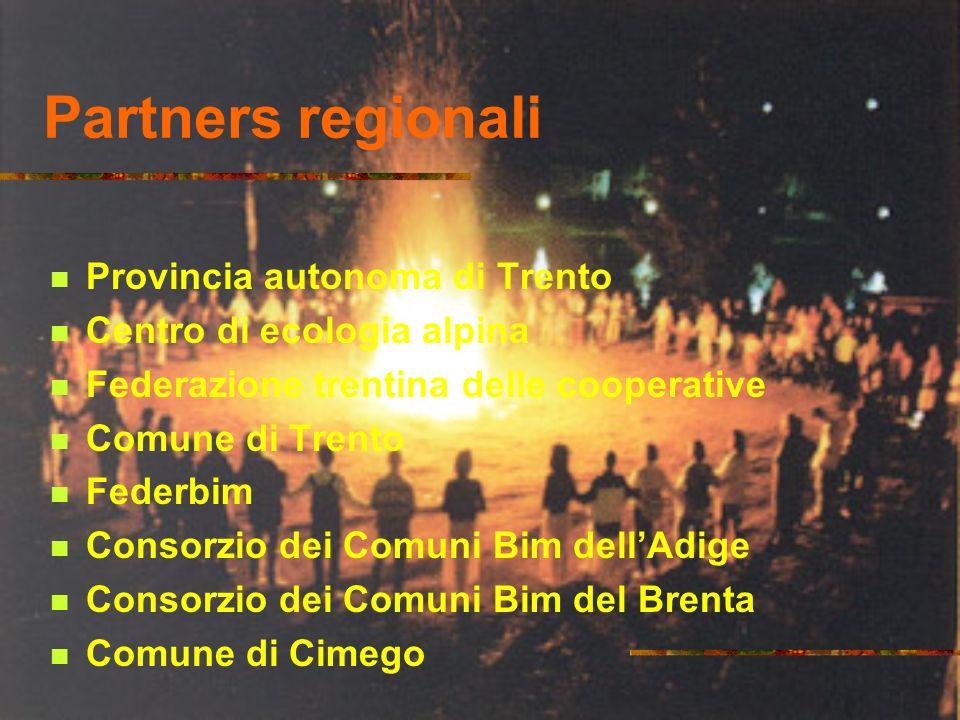 Partners regionali Provincia autonoma di Trento Centro di ecologia alpina Federazione trentina delle cooperative Comune di Trento Federbim Consorzio dei Comuni Bim dellAdige Consorzio dei Comuni Bim del Brenta Comune di Cimego
