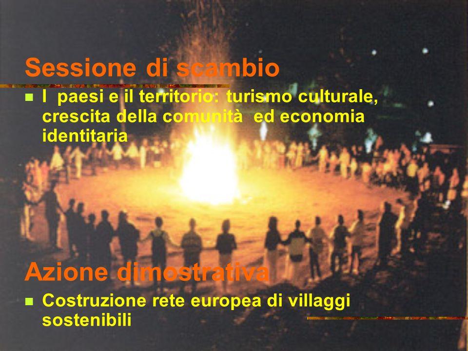 Sessione di scambio I paesi e il territorio: turismo culturale, crescita della comunità ed economia identitaria Azione dimostrativa Costruzione rete europea di villaggi sostenibili
