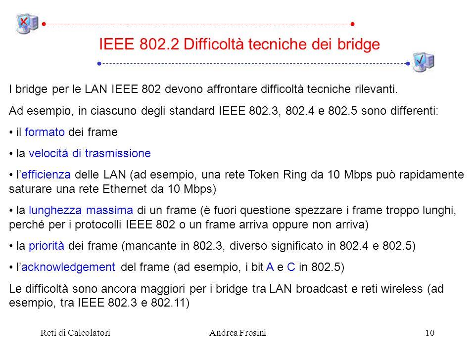 Reti di CalcolatoriAndrea Frosini10 I bridge per le LAN IEEE 802 devono affrontare difficoltà tecniche rilevanti. Ad esempio, in ciascuno degli standa