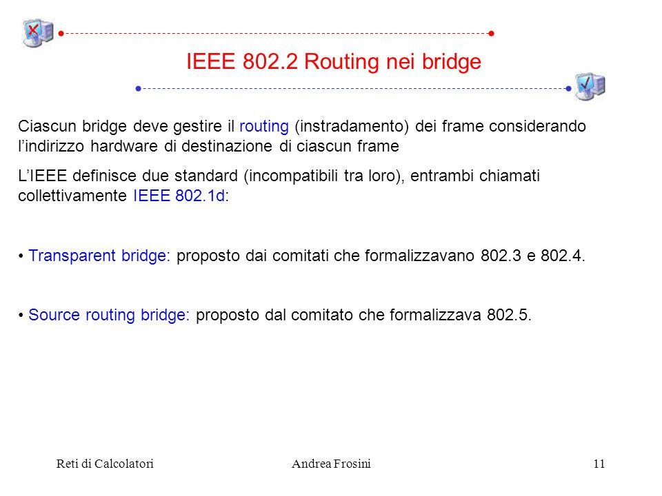 Reti di CalcolatoriAndrea Frosini11 Ciascun bridge deve gestire il routing (instradamento) dei frame considerando lindirizzo hardware di destinazione di ciascun frame LIEEE definisce due standard (incompatibili tra loro), entrambi chiamati collettivamente IEEE 802.1d: Transparent bridge: proposto dai comitati che formalizzavano 802.3 e 802.4.