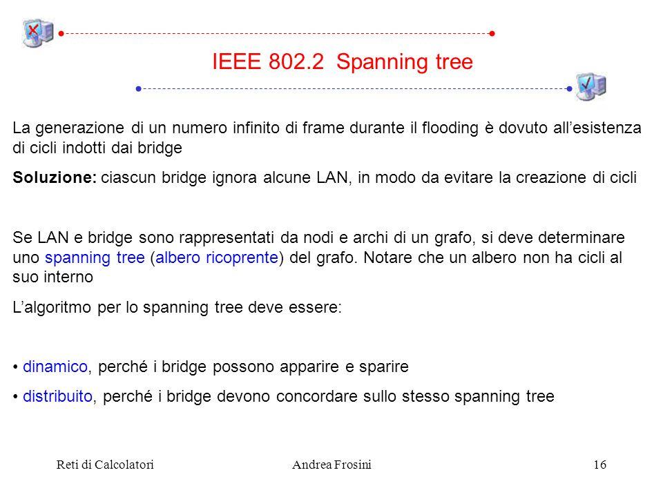 Reti di CalcolatoriAndrea Frosini16 La generazione di un numero infinito di frame durante il flooding è dovuto allesistenza di cicli indotti dai bridg