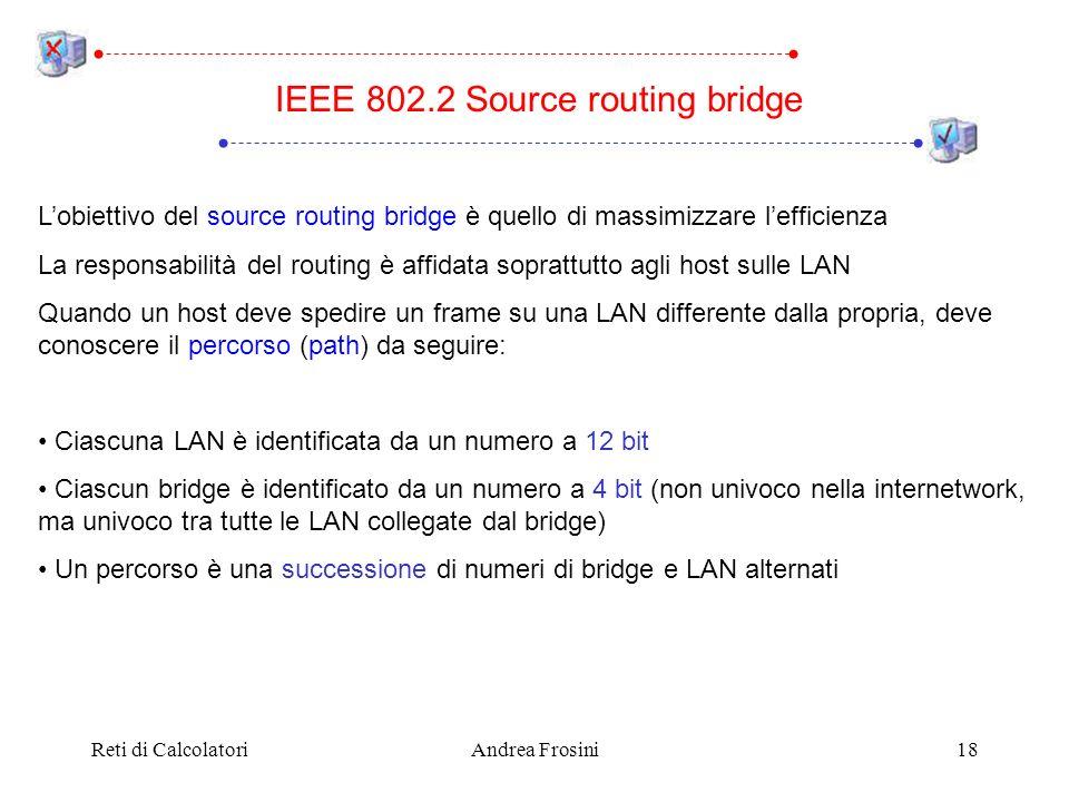 Reti di CalcolatoriAndrea Frosini18 Lobiettivo del source routing bridge è quello di massimizzare lefficienza La responsabilità del routing è affidata