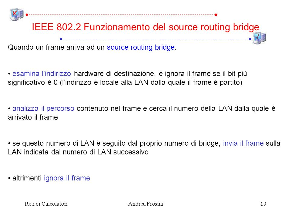 Reti di CalcolatoriAndrea Frosini19 Quando un frame arriva ad un source routing bridge: esamina lindirizzo hardware di destinazione, e ignora il frame