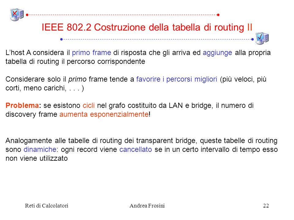 Reti di CalcolatoriAndrea Frosini22 Lhost A considera il primo frame di risposta che gli arriva ed aggiunge alla propria tabella di routing il percors