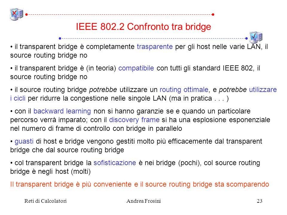 Reti di CalcolatoriAndrea Frosini23 il transparent bridge è completamente trasparente per gli host nelle varie LAN, il source routing bridge no il transparent bridge è (in teoria) compatibile con tutti gli standard IEEE 802, il source routing bridge no il source routing bridge potrebbe utilizzare un routing ottimale, e potrebbe utilizzare i cicli per ridurre la congestione nelle singole LAN (ma in pratica...