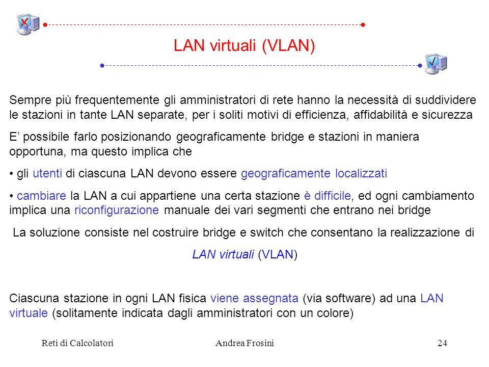 Reti di CalcolatoriAndrea Frosini24 Sempre più frequentemente gli amministratori di rete hanno la necessità di suddividere le stazioni in tante LAN se