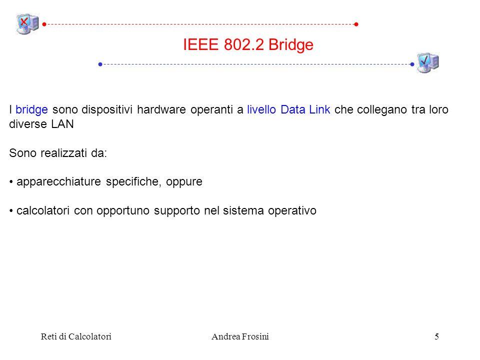 Reti di CalcolatoriAndrea Frosini5 I bridge sono dispositivi hardware operanti a livello Data Link che collegano tra loro diverse LAN Sono realizzati
