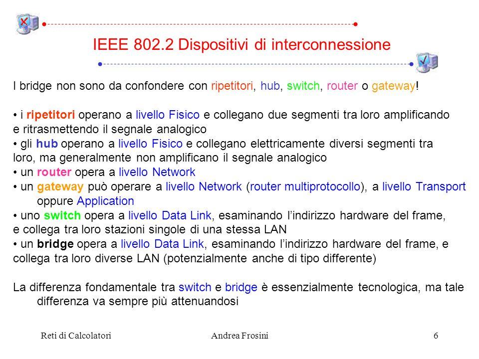 Reti di CalcolatoriAndrea Frosini6 I bridge non sono da confondere con ripetitori, hub, switch, router o gateway! i ripetitori operano a livello Fisic