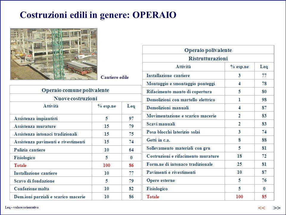 Costruzioni edili in genere: OPERAIO Operaio comune polivalente Nuove costruzioni Attività% esp.neLeq Assistenza impiantisti597 Assistenza murature157