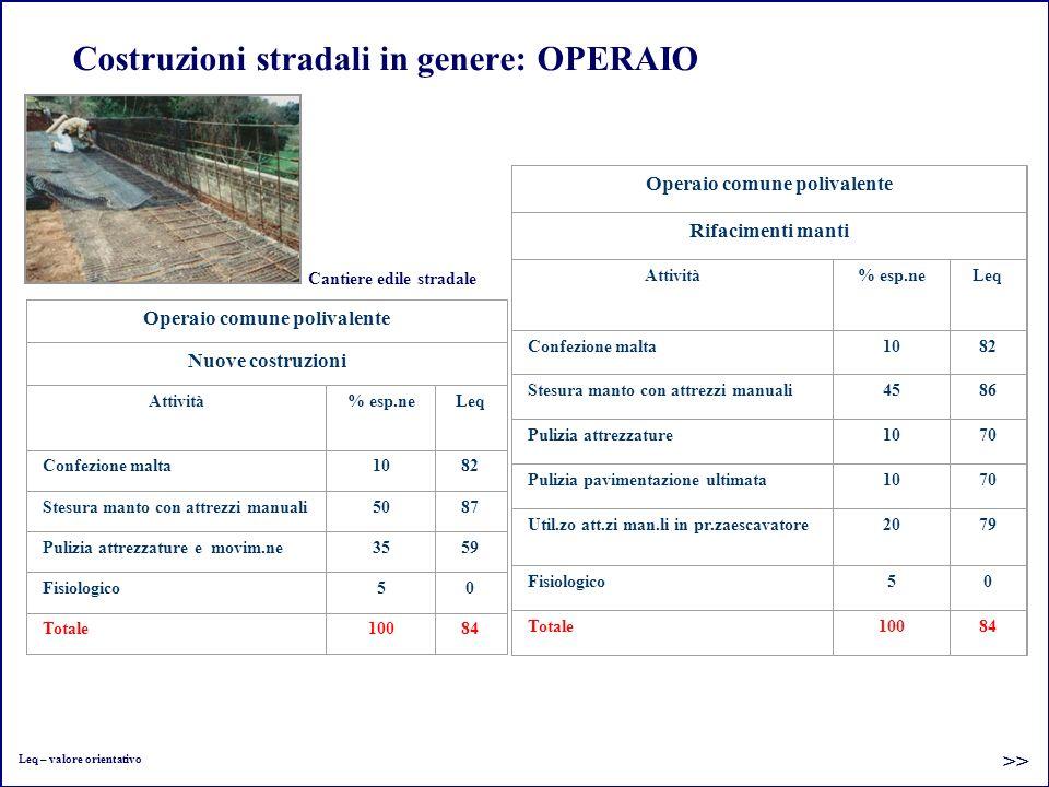 Costruzioni stradali in genere: OPERAIO Operaio comune polivalente Nuove costruzioni Attività% esp.neLeq Confezione malta1082 Stesura manto con attrez